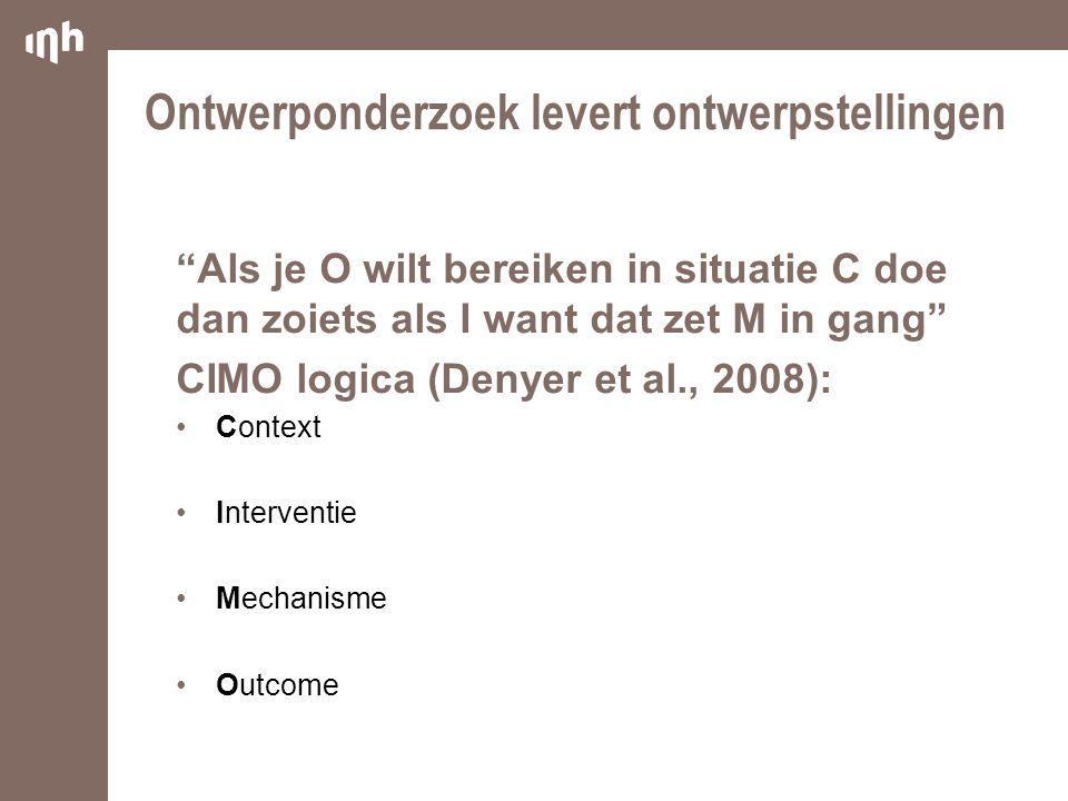 """Ontwerponderzoek levert ontwerpstellingen """"Als je O wilt bereiken in situatie C doe dan zoiets als I want dat zet M in gang"""" CIMO logica (Denyer et al"""