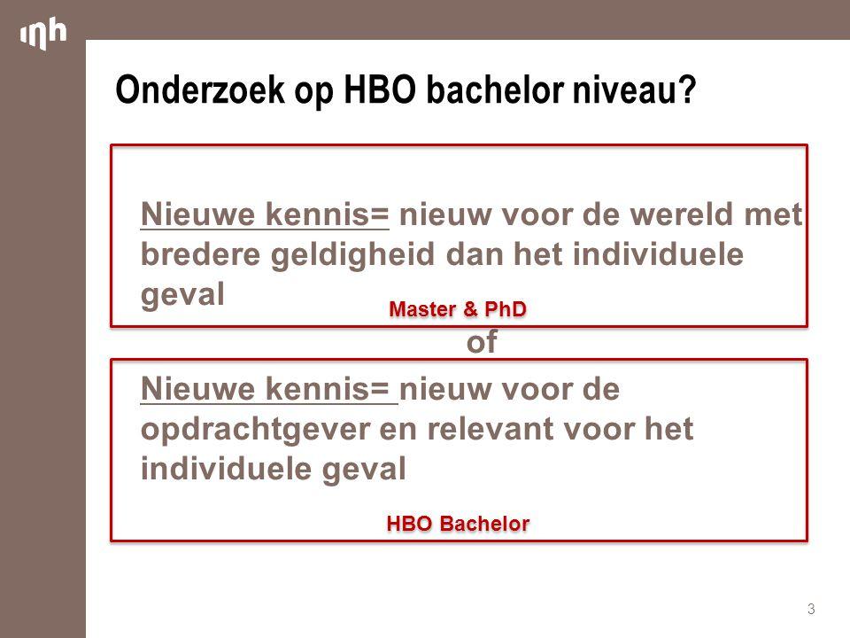 Onderzoek op HBO bachelor niveau? Nieuwe kennis= nieuw voor de wereld met bredere geldigheid dan het individuele geval of Nieuwe kennis= nieuw voor de