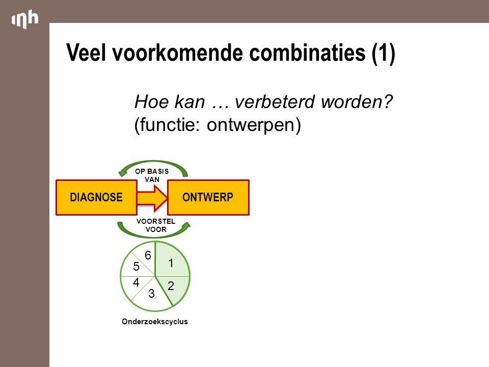 DIAGNOSEONTWERP Veel voorkomende combinaties (1) VOORSTEL VOOR 1 2 3 4 5 6 Onderzoekscyclus Hoe kan … verbeterd worden? (functie: ontwerpen) OP BASIS