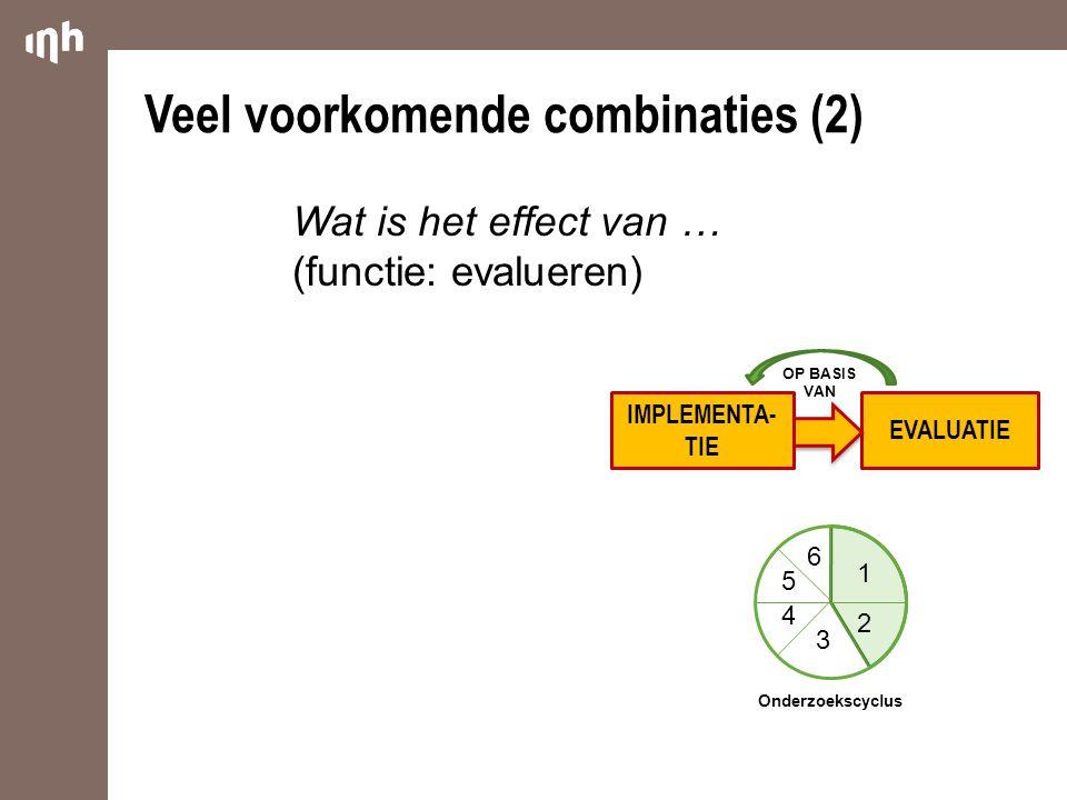 EVALUATIE Veel voorkomende combinaties (2) OP BASIS VAN 1 2 3 4 5 6 Onderzoekscyclus Wat is het effect van … (functie: evalueren) IMPLEMENTA- TIE