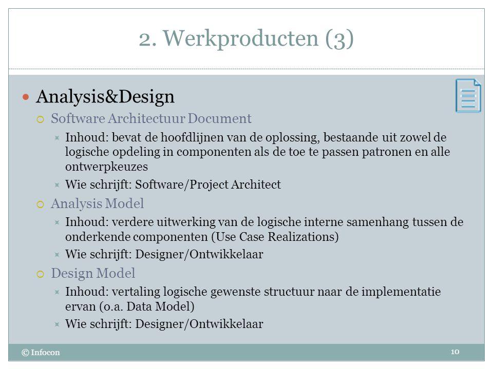 2. Werkproducten (3) © Infocon Analysis&Design  Software Architectuur Document  Inhoud: bevat de hoofdlijnen van de oplossing, bestaande uit zowel d
