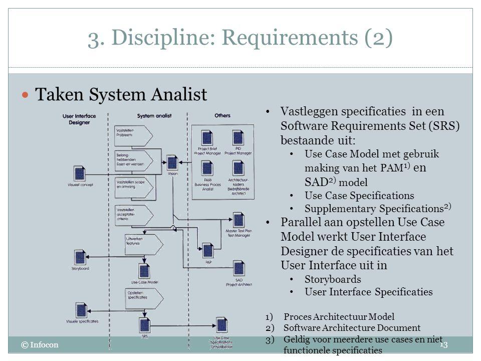 3. Discipline: Requirements (2) © Infocon Taken System Analist 13 Vastleggen specificaties in een Software Requirements Set (SRS) bestaande uit: Use C