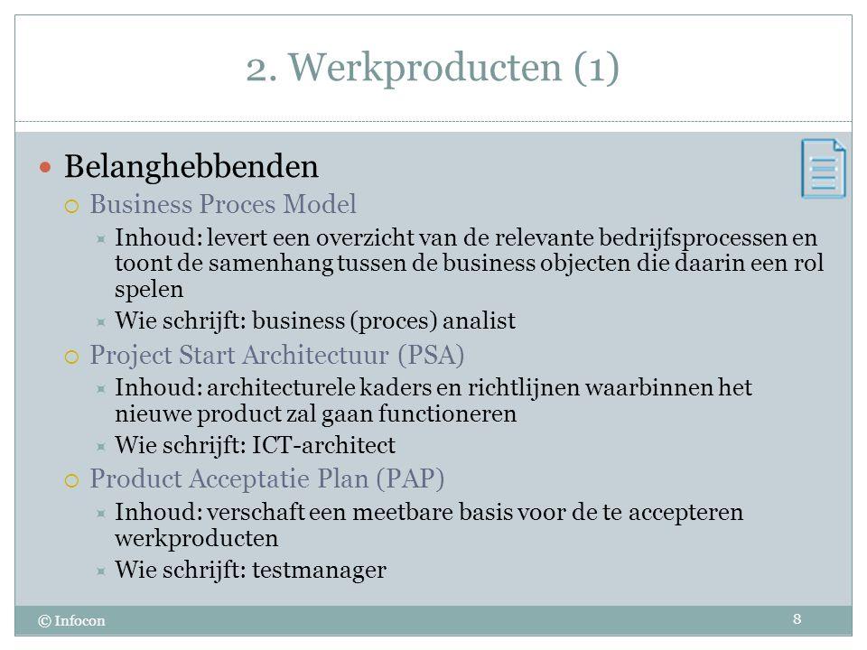 2. Werkproducten (1) © Infocon Belanghebbenden  Business Proces Model  Inhoud: levert een overzicht van de relevante bedrijfsprocessen en toont de s