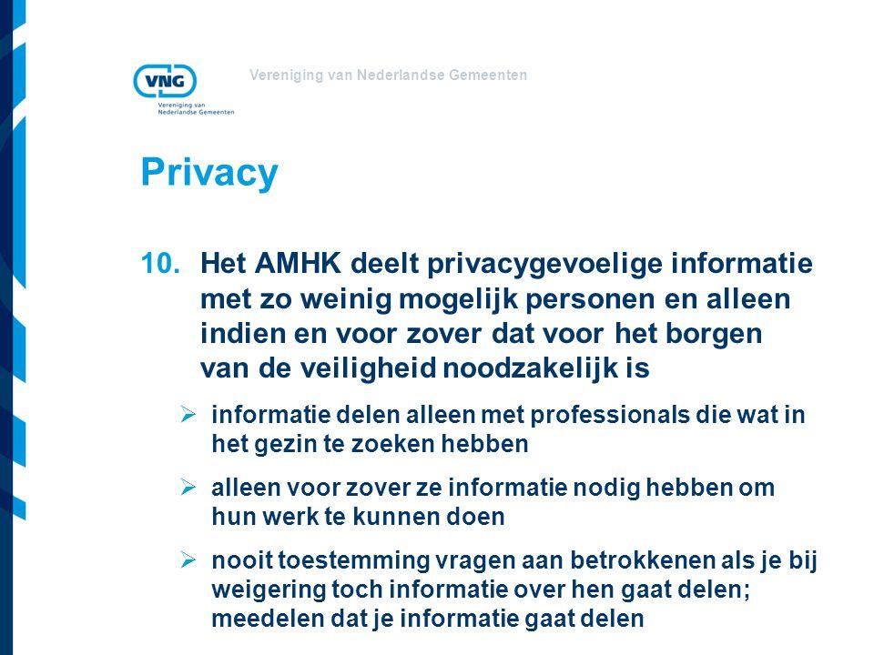 Vereniging van Nederlandse Gemeenten Privacy 10.Het AMHK deelt privacygevoelige informatie met zo weinig mogelijk personen en alleen indien en voor zo