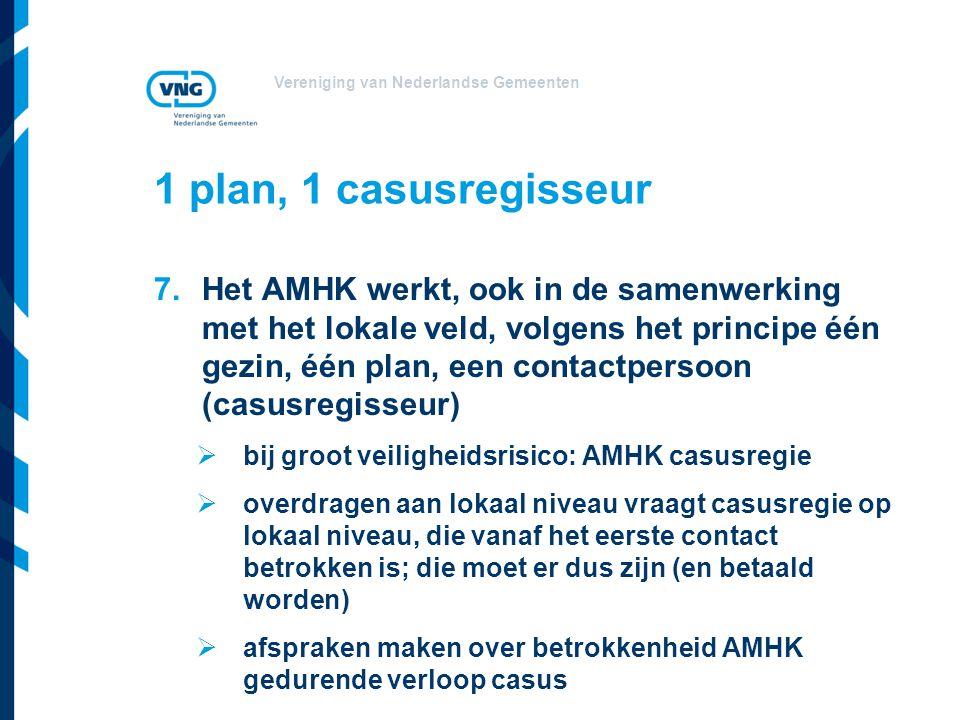 Vereniging van Nederlandse Gemeenten 1 plan, 1 casusregisseur 7.Het AMHK werkt, ook in de samenwerking met het lokale veld, volgens het principe één g