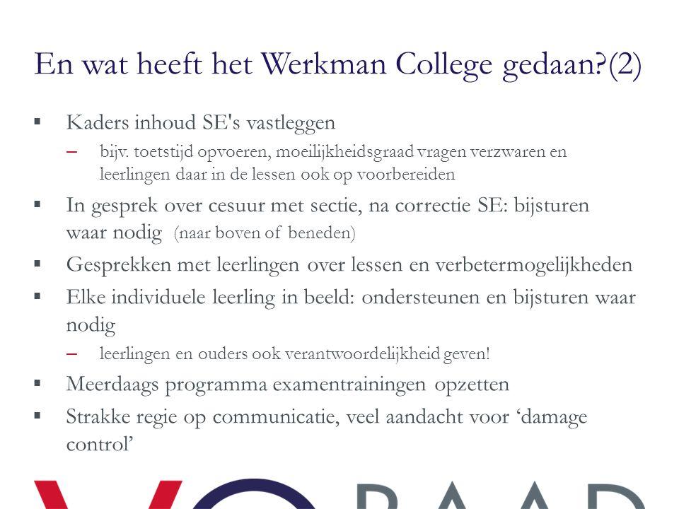 En wat heeft het Werkman College gedaan?(2)  Kaders inhoud SE's vastleggen – bijv. toetstijd opvoeren, moeilijkheidsgraad vragen verzwaren en leerlin