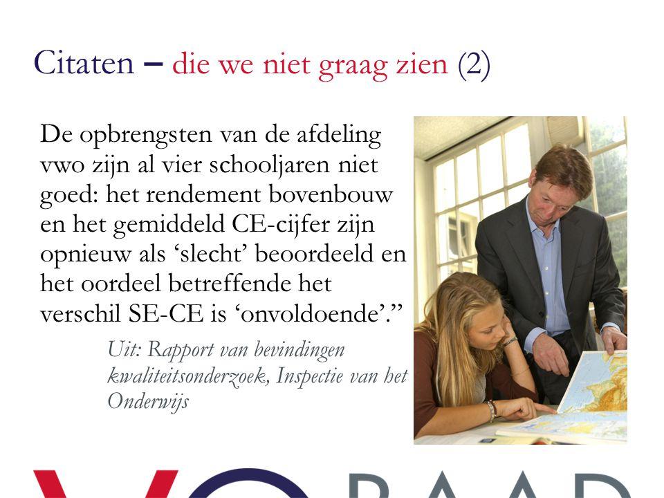 Citaten – die we niet graag zien (2 ) De opbrengsten van de afdeling vwo zijn al vier schooljaren niet goed: het rendement bovenbouw en het gemiddeld