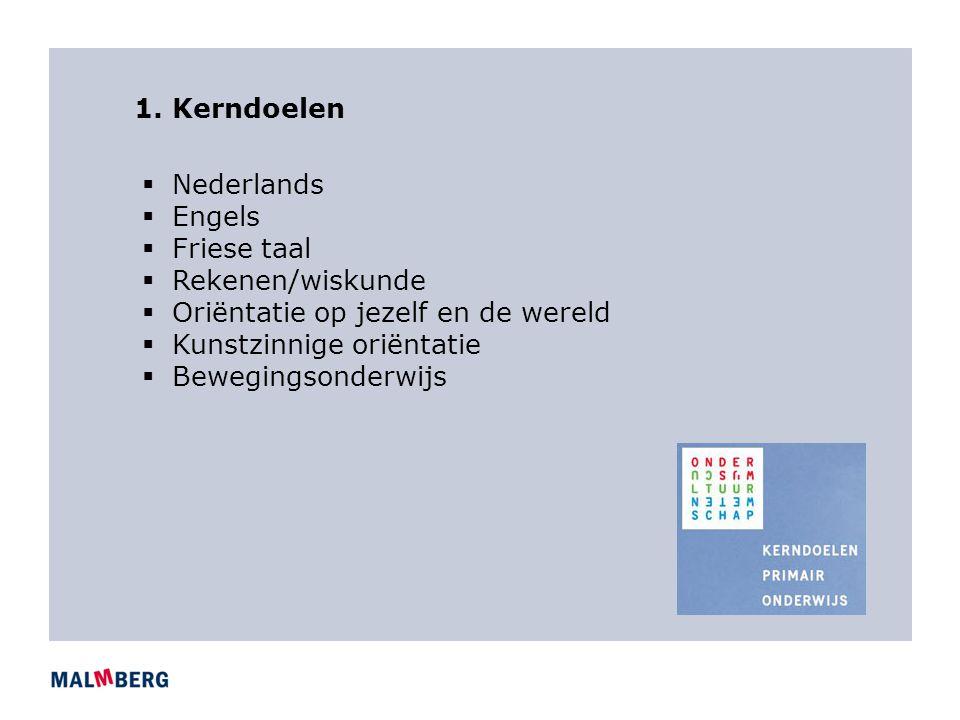 1. Kerndoelen  Nederlands  Engels  Friese taal  Rekenen/wiskunde  Oriëntatie op jezelf en de wereld  Kunstzinnige oriëntatie  Bewegingsonderwij