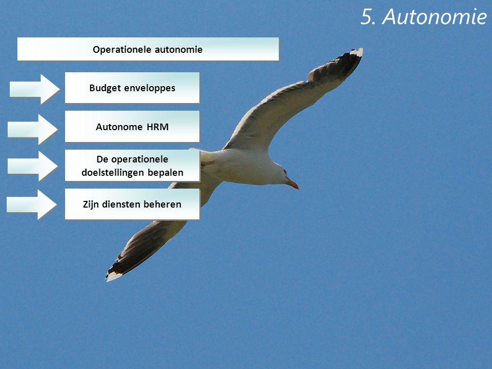Operationele autonomie Budget enveloppes Autonome HRM De operationele doelstellingen bepalen Zijn diensten beheren 5.