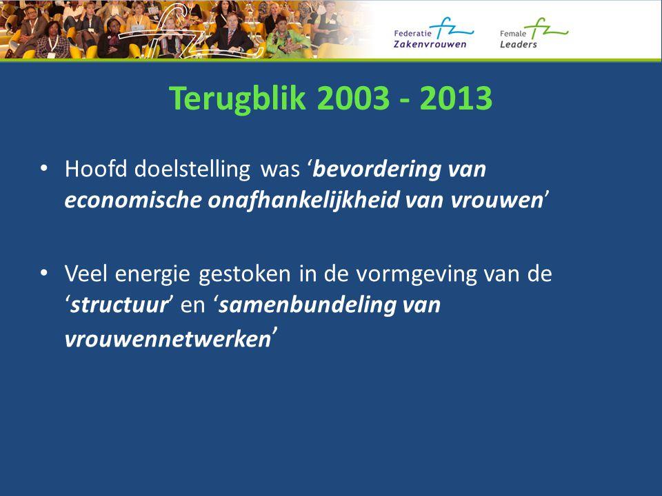 Terugblik 2003 - 2013 Hoofd doelstelling was 'bevordering van economische onafhankelijkheid van vrouwen' Veel energie gestoken in de vormgeving van de 'structuur' en 'samenbundeling van vrouwennetwerken '