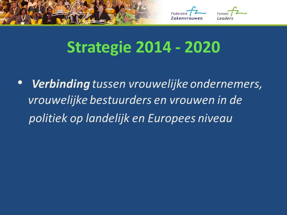 Strategie 2014 - 2020 Verbinding tussen vrouwelijke ondernemers, vrouwelijke bestuurders en vrouwen in de politiek op landelijk en Europees niveau