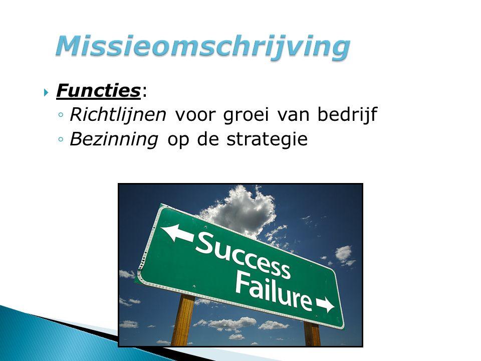  Functies: ◦Richtlijnen voor groei van bedrijf ◦Bezinning op de strategie