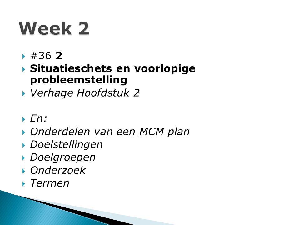  #36 2  Situatieschets en voorlopige probleemstelling  Verhage Hoofdstuk 2  En:  Onderdelen van een MCM plan  Doelstellingen  Doelgroepen  Onderzoek  Termen