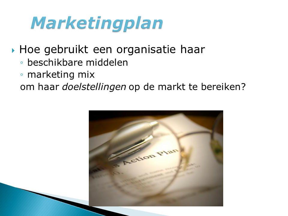  Hoe gebruikt een organisatie haar ◦beschikbare middelen ◦marketing mix om haar doelstellingen op de markt te bereiken?