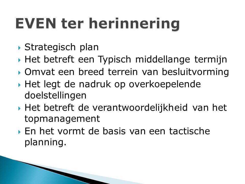  Strategisch plan  Het betreft een Typisch middellange termijn  Omvat een breed terrein van besluitvorming  Het legt de nadruk op overkoepelende doelstellingen  Het betreft de verantwoordelijkheid van het topmanagement  En het vormt de basis van een tactische planning.