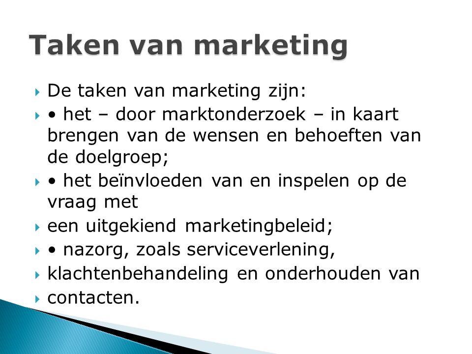  De taken van marketing zijn:  het – door marktonderzoek – in kaart brengen van de wensen en behoeften van de doelgroep;  het beïnvloeden van en inspelen op de vraag met  een uitgekiend marketingbeleid;  nazorg, zoals serviceverlening,  klachtenbehandeling en onderhouden van  contacten.