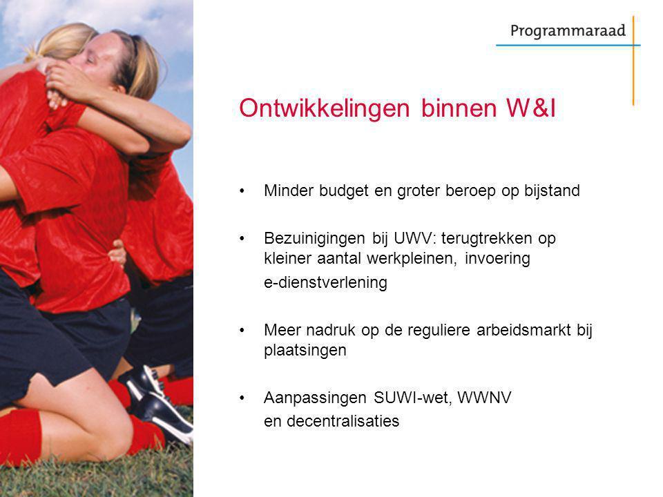 Ontwikkelingen binnen W&I Minder budget en groter beroep op bijstand Bezuinigingen bij UWV: terugtrekken op kleiner aantal werkpleinen, invoering e-di