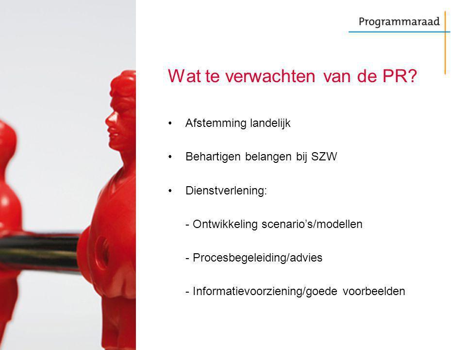 Wat te verwachten van de PR? Afstemming landelijk Behartigen belangen bij SZW Dienstverlening: - Ontwikkeling scenario's/modellen - Procesbegeleiding/