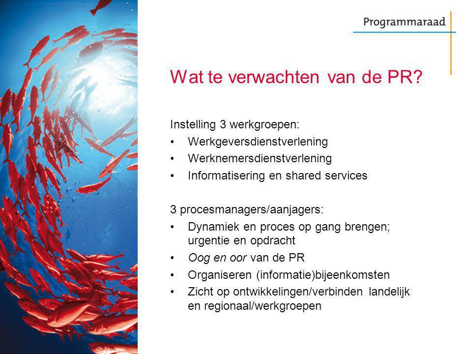 Wat te verwachten van de PR? Instelling 3 werkgroepen: Werkgeversdienstverlening Werknemersdienstverlening Informatisering en shared services 3 proces
