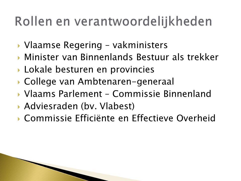  Vlaamse Regering – vakministers  Minister van Binnenlands Bestuur als trekker  Lokale besturen en provincies  College van Ambtenaren-generaal  Vlaams Parlement – Commissie Binnenland  Adviesraden (bv.