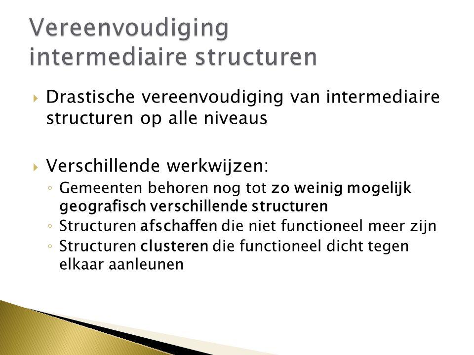  Drastische vereenvoudiging van intermediaire structuren op alle niveaus  Verschillende werkwijzen: ◦ Gemeenten behoren nog tot zo weinig mogelijk geografisch verschillende structuren ◦ Structuren afschaffen die niet functioneel meer zijn ◦ Structuren clusteren die functioneel dicht tegen elkaar aanleunen