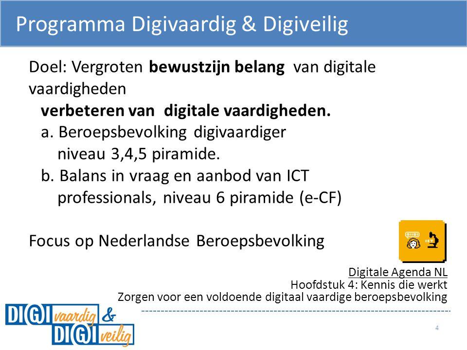 Programma Digivaardig & Digiveilig 4 Doel: Vergroten bewustzijn belang van digitale vaardigheden verbeteren van digitale vaardigheden. a. Beroepsbevol