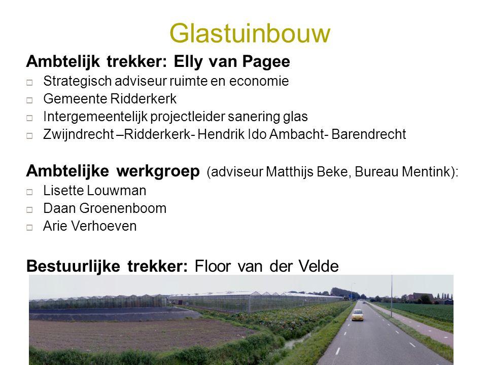 Glastuinbouw Ambtelijk trekker: Elly van Pagee  Strategisch adviseur ruimte en economie  Gemeente Ridderkerk  Intergemeentelijk projectleider saner