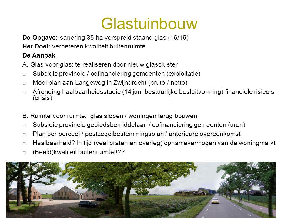 Glastuinbouw De Opgave: sanering 35 ha verspreid staand glas (16/19) Het Doel: verbeteren kwaliteit buitenruimte De Aanpak A. Glas voor glas: te reali