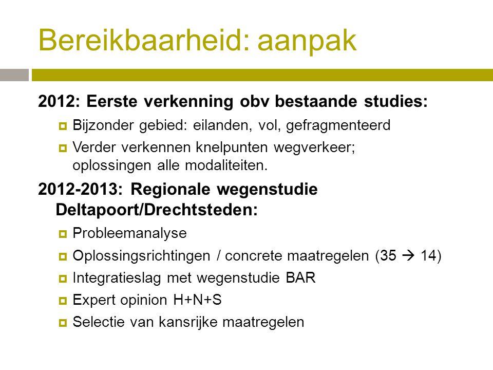 2012: Eerste verkenning obv bestaande studies:  Bijzonder gebied: eilanden, vol, gefragmenteerd  Verder verkennen knelpunten wegverkeer; oplossingen alle modaliteiten.