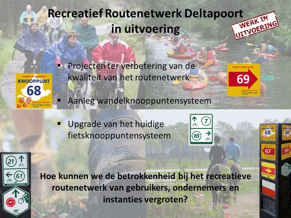 Recreatief Routenetwerk Deltapoort in uitvoering Hoe kunnen we de betrokkenheid bij het recreatieve routenetwerk van gebruikers, ondernemers en instanties vergroten.