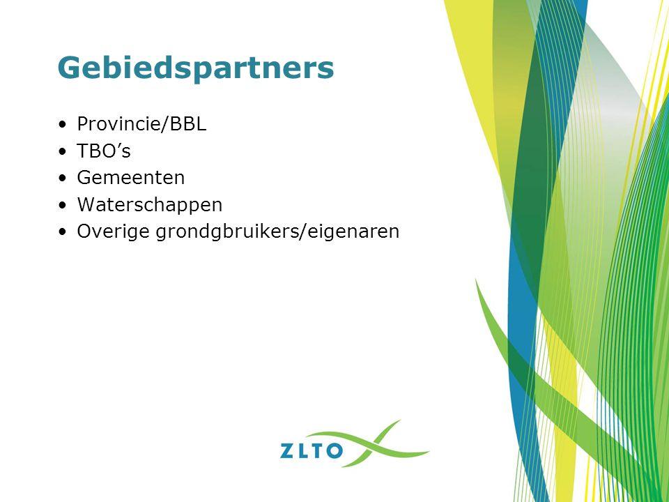 Gebiedspartners Provincie/BBL TBO's Gemeenten Waterschappen Overige grondgbruikers/eigenaren