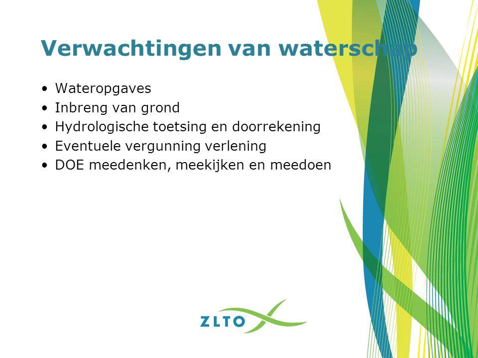 Verwachtingen van waterschap Wateropgaves Inbreng van grond Hydrologische toetsing en doorrekening Eventuele vergunning verlening DOE meedenken, meeki
