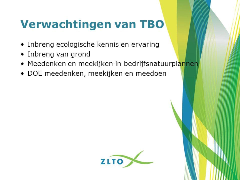 Verwachtingen van TBO Inbreng ecologische kennis en ervaring Inbreng van grond Meedenken en meekijken in bedrijfsnatuurplannen DOE meedenken, meekijke