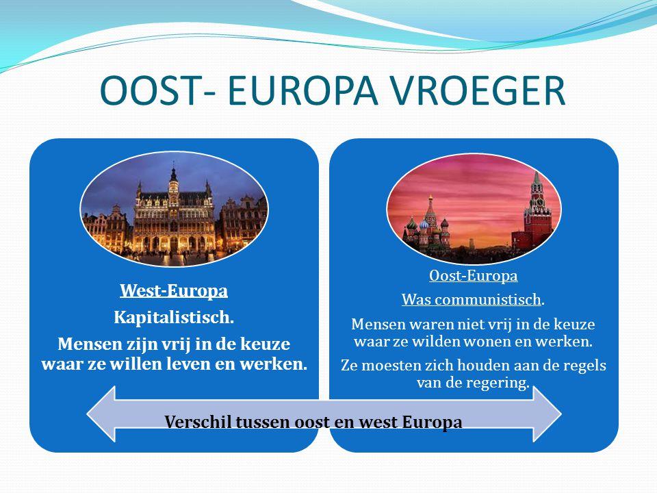 OOST- EUROPA VROEGER West-Europa Kapitalistisch. Mensen zijn vrij in de keuze waar ze willen leven en werken. Oost-Europa Was communistisch. Mensen wa