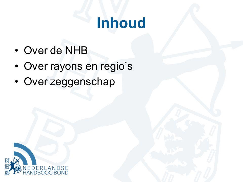 Inhoud Over de NHB Over rayons en regio's Over zeggenschap