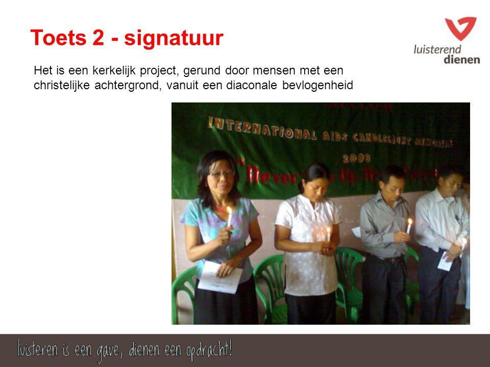 Toets 2 - signatuur Het is een kerkelijk project, gerund door mensen met een christelijke achtergrond, vanuit een diaconale bevlogenheid
