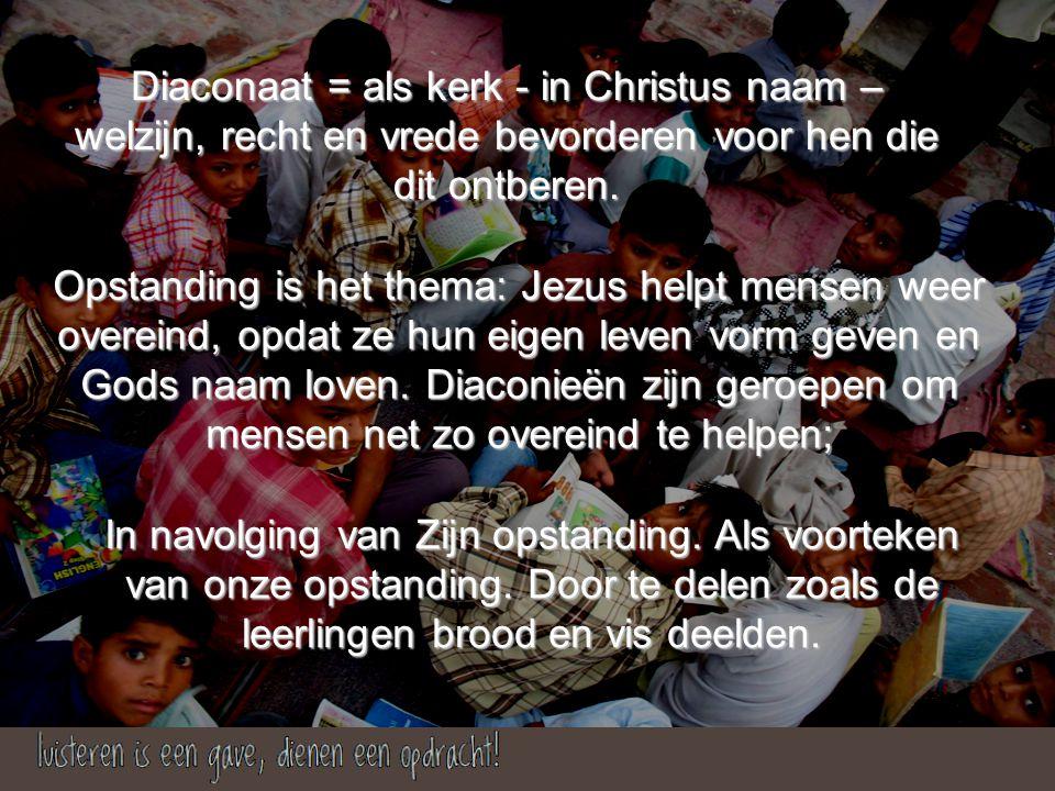Opstanding is het thema: Jezus helpt mensen weer overeind, opdat ze hun eigen leven vorm geven en Gods naam loven.