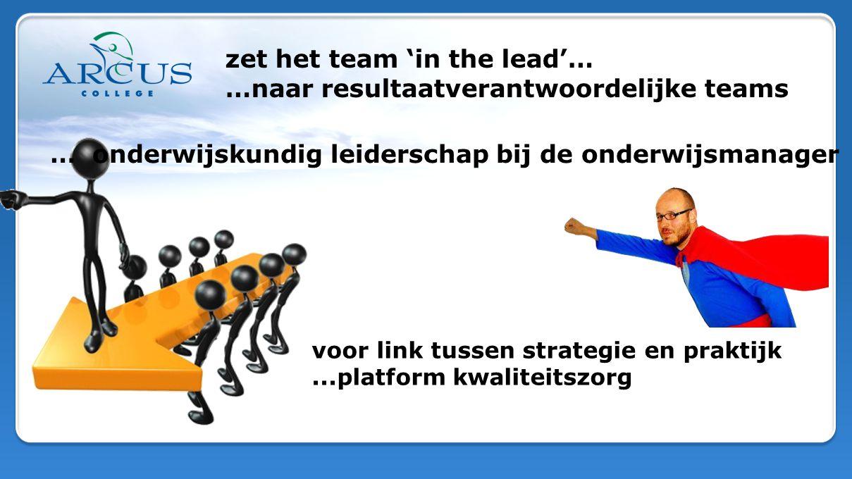 zet het team 'in the lead'… …naar resultaatverantwoordelijke teams … onderwijskundig leiderschap bij de onderwijsmanager voor link tussen strategie en praktijk...platform kwaliteitszorg