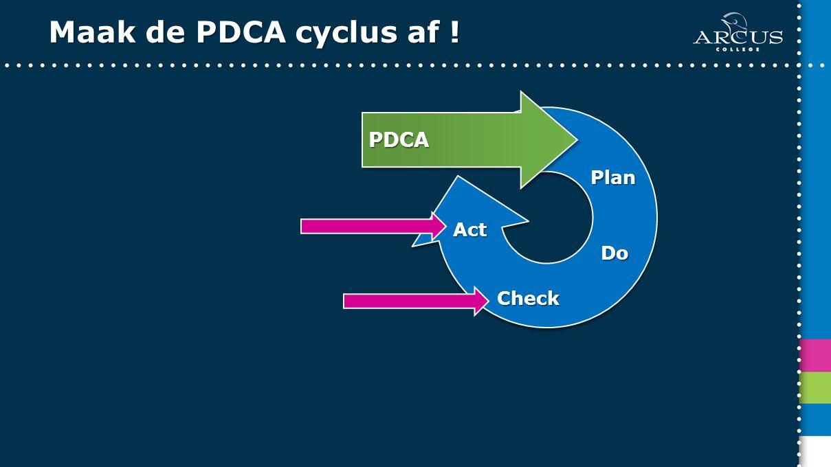 Maak de PDCA cyclus af ! Plan Do Check Act PDCA