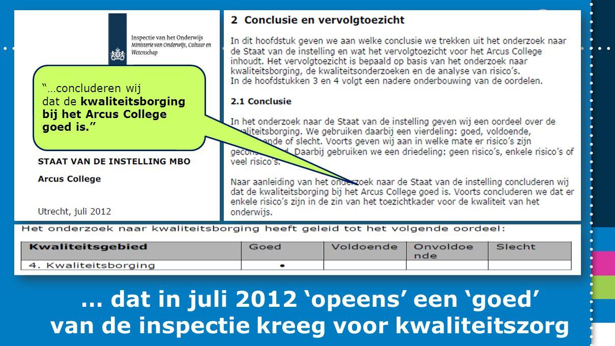 """… dat in juli 2012 'opeens' een 'goed' van de inspectie kreeg voor kwaliteitszorg """"…concluderen wij dat de kwaliteitsborging bij het Arcus College goe"""