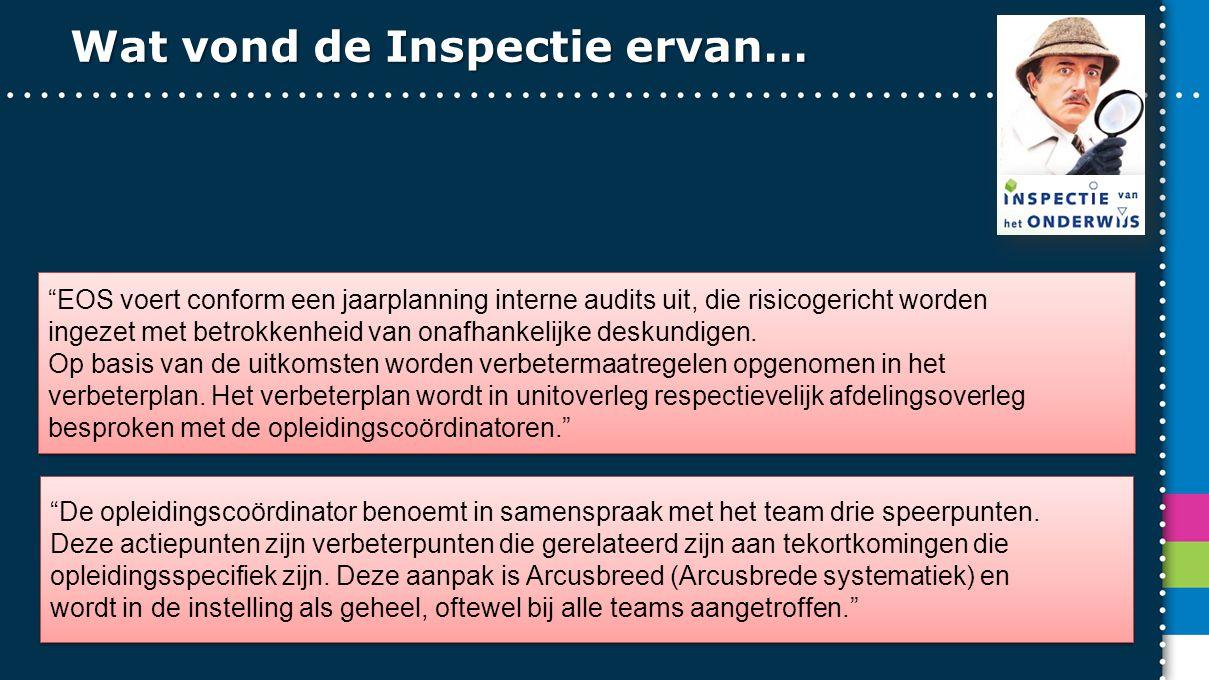 Wat vond de Inspectie ervan… EOS voert conform een jaarplanning interne audits uit, die risicogericht worden ingezet met betrokkenheid van onafhankelijke deskundigen.