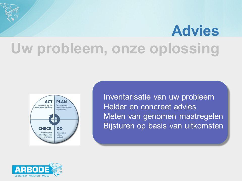 Advies Uw probleem, onze oplossing Inventarisatie van uw probleem Helder en concreet advies Meten van genomen maatregelen Bijsturen op basis van uitko