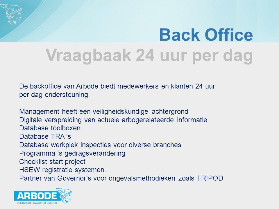 Back Office Vraagbaak 24 uur per dag De backoffice van Arbode biedt medewerkers en klanten 24 uur per dag ondersteuning. Management heeft een veilighe