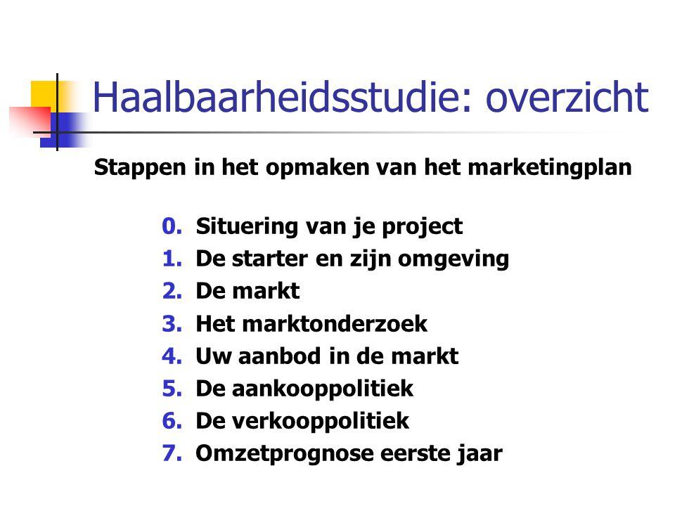 Haalbaarheidsstudie: overzicht Stappen in het opmaken van het marketingplan 0. Situering van je project 1.De starter en zijn omgeving 2.De markt 3.Het