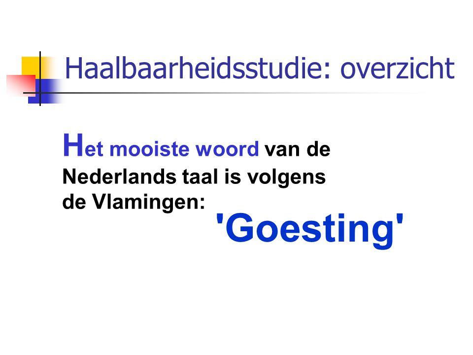 Haalbaarheidsstudie: overzicht 'Goesting' H et mooiste woord van de Nederlands taal is volgens de Vlamingen: