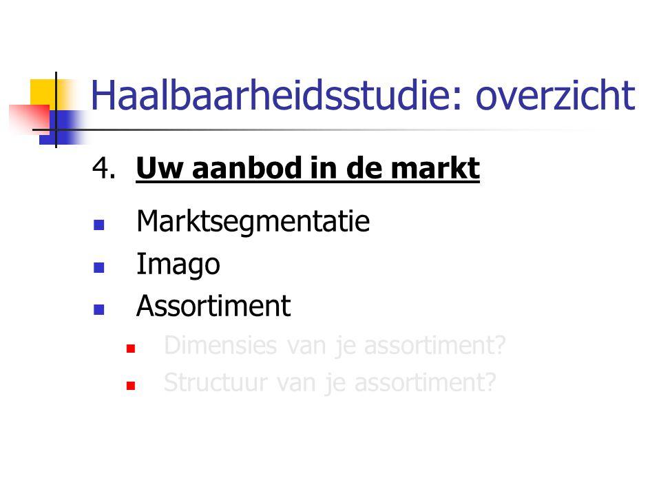 Haalbaarheidsstudie: overzicht 4. Uw aanbod in de markt Marktsegmentatie Imago Assortiment Dimensies van je assortiment? Structuur van je assortiment?