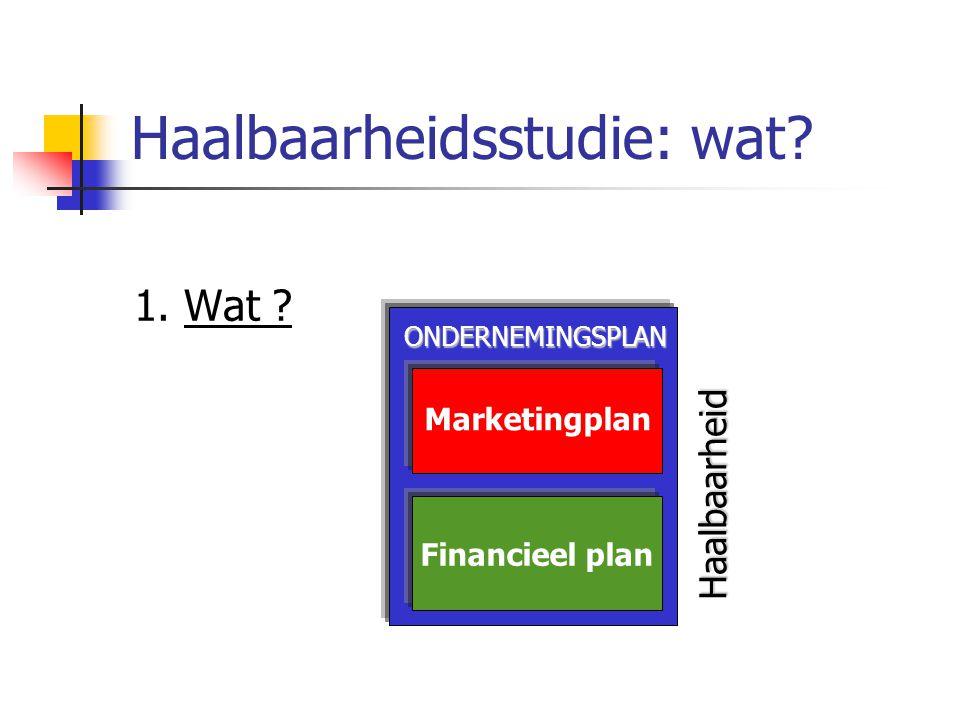 Haalbaarheidsstudie: wat.1. Wat . Geeft antwoord op de vragen Is de markt groot genoeg.