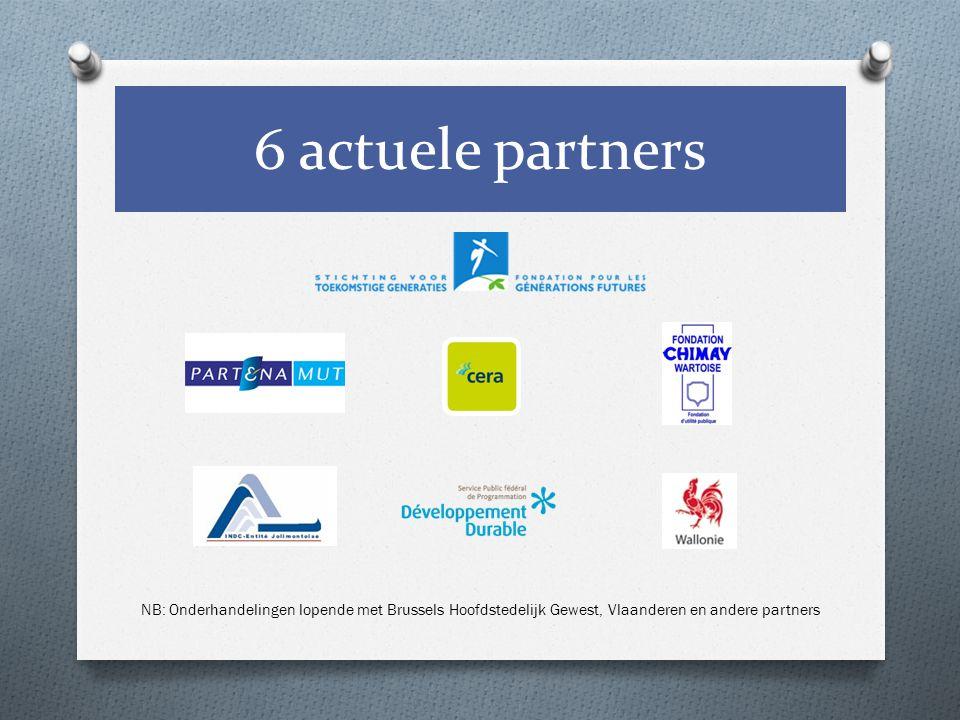 6 actuele partners NB: Onderhandelingen lopende met Brussels Hoofdstedelijk Gewest, Vlaanderen en andere partners