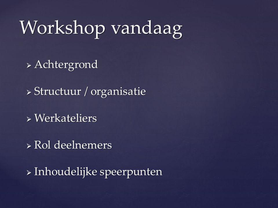 Workshop vandaag  Achtergrond  Structuur / organisatie  Werkateliers  Rol deelnemers  Inhoudelijke speerpunten