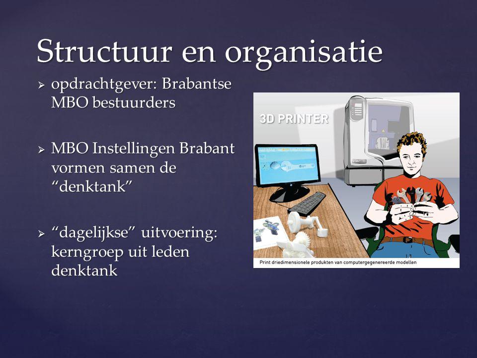 """Structuur en organisatie  opdrachtgever: Brabantse MBO bestuurders  MBO Instellingen Brabant vormen samen de """"denktank""""  """"dagelijkse"""" uitvoering: k"""